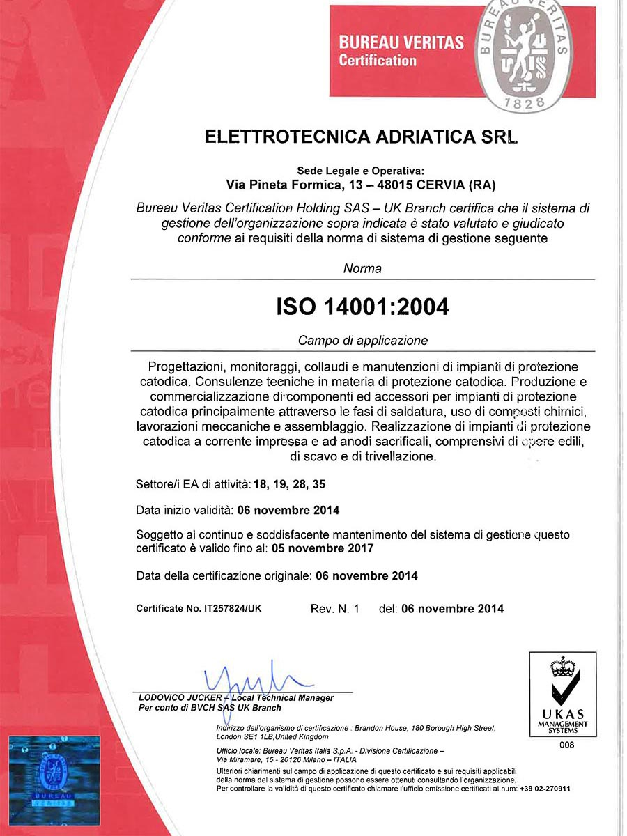 Certificazione Gestione Ambientale ISO 14001