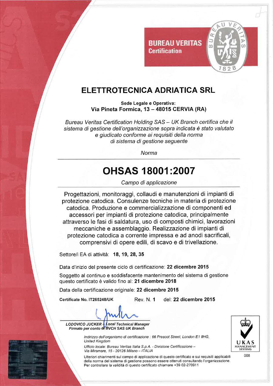 Certificazione Gestione della Salute e Sicurezza sul Lavoro OHSAS 18001
